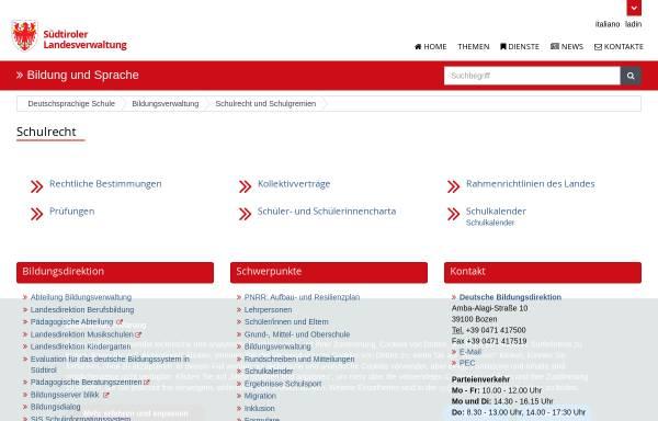 Vorschau von www.provinz.bz.it, Bozen-Südtirol: Deutsches Landesschulamt für die Autonome Provinz