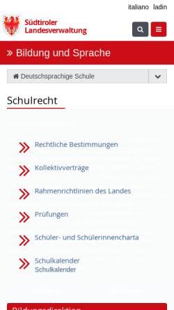 Vorschau der mobilen Webseite www.provinz.bz.it, Bozen-Südtirol: Deutsches Landesschulamt für die Autonome Provinz