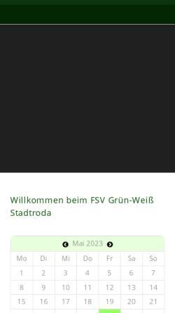 Vorschau der mobilen Webseite www.gruenweiss-stadtroda.de, FSV Grün Weiß Stadtroda e.V.