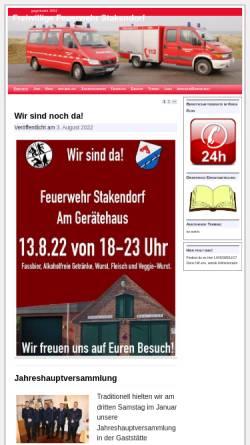 Vorschau der mobilen Webseite feuerwehr.stakendorf.de, Freiwillige Feuerwehr Stakendorf