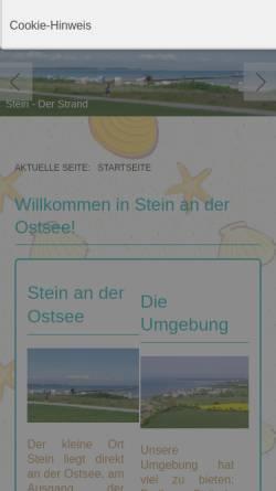 Vorschau der mobilen Webseite www.ferienwohnung-stein-ostsee.de, Ferienwohnungen Marei Jörgensen-Hübner