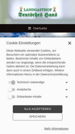 Vorschau der mobilen Webseite www.landgasthof-deutsches-haus.de, Landgasthof Deutsches Haus