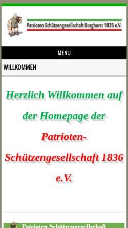 Vorschau der mobilen Webseite www.patrioten-schuetzengesellschaft.de, Patrioten Schützengesellschaft Borghorst 1836 e.V.