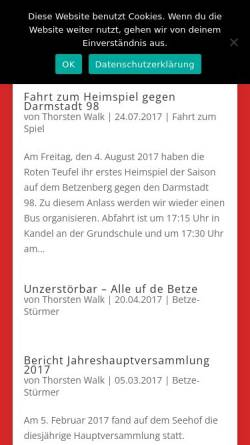 Vorschau der mobilen Webseite www.betze-stuermer-steinweiler.de, FCK-Fanclub Betze-Stürmer Steinweiler 1978 e.V.