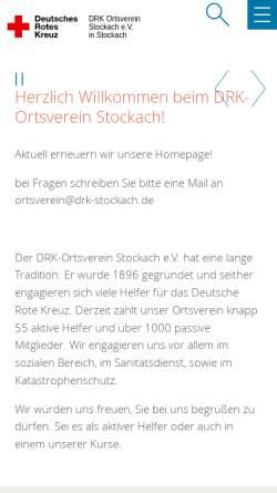 Vorschau der mobilen Webseite www.drk-stockach.de, DRK-Ortsverein Stockach