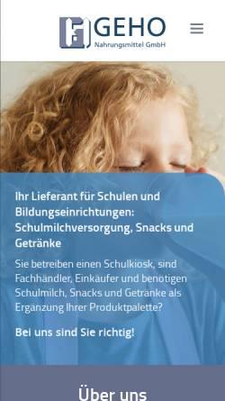 Vorschau der mobilen Webseite geho-straelen.de, GeHo Nahrungsmittel GmbH