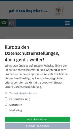 Vorschau der mobilen Webseite www.pollmannflug.de, Pollmann Flugreisen GmbH