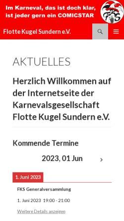 Vorschau der mobilen Webseite www.flotte-kugel.de, Karnevalsgesellschaft Flotte-Kugel Sundern e.V.