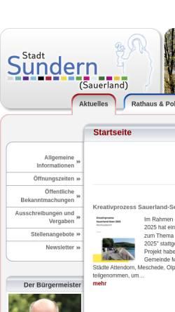 Vorschau der mobilen Webseite www.sundern.de, Sundern