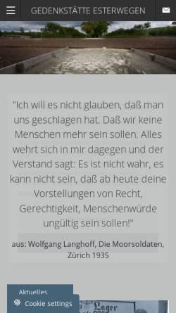 Vorschau der mobilen Webseite www.gedenkstaette-esterwegen.de, Dokumentations- und Informationszentrum (DIZ) Emslandlager