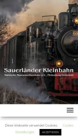 Vorschau der mobilen Webseite www.sauerlaender-kleinbahn.de, Märkische Museums-Eisenbahn