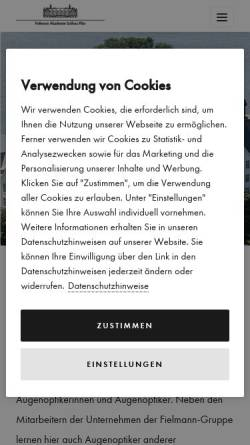 Vorschau der mobilen Webseite www.fielmann-akademie.com, Fielmann Akademie Schloss Plön