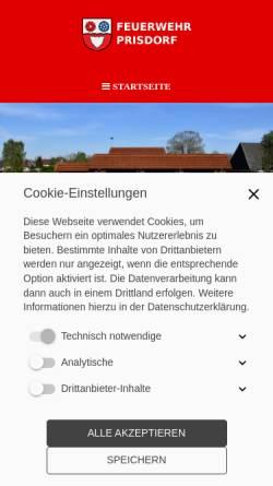 Vorschau der mobilen Webseite www.feuerwehr-prisdorf.de, Freiwillige Feuerwehr Prisdorf