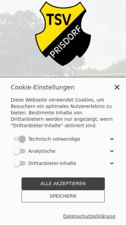 Vorschau der mobilen Webseite www.tsv-prisdorf.de, T.S.V. Prisdorf