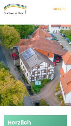 Vorschau der mobilen Webseite www.stadtwerke-uslar.de, Stadtwerke Uslar GmbH