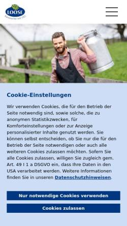Vorschau der mobilen Webseite www.kaeserei-loose.de, Käserei Loose
