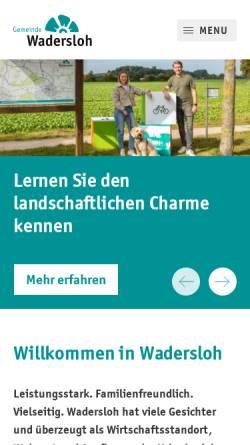 Vorschau der mobilen Webseite www.wadersloh.de, Gemeinde Wadersloh