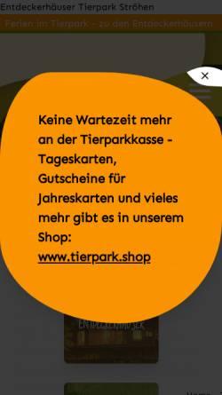 Vorschau der mobilen Webseite www.tierpark-stroehen.de, Tierpark Ströhen