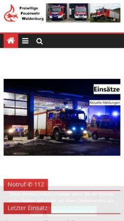 Vorschau der mobilen Webseite www.feuerwehr-waldenburg.de, Freiwillige Feuerwehr Waldenburg