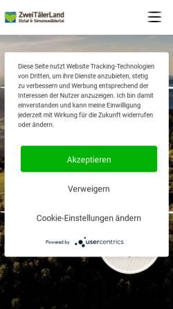 Vorschau der mobilen Webseite www.zweitaelerland.de, Waldkirch.info