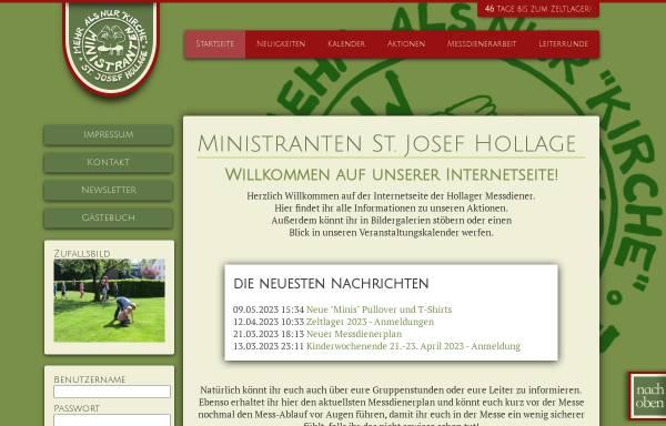 Vorschau von www.ministranten-hollage.de, Ministranten St. Josef Hollage