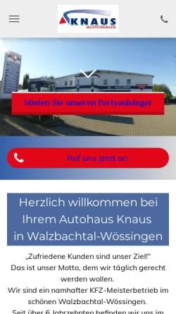 Vorschau der mobilen Webseite www.auto-knaus.de, Autohaus Knaus