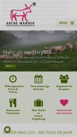 Vorschau der mobilen Webseite www.arche-warder.de, Arche Warder
