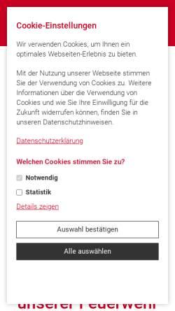 Vorschau der mobilen Webseite www.feuerwehr-wartenberg.de, Freiwillige Feuerwehr Wartenberg e.V.