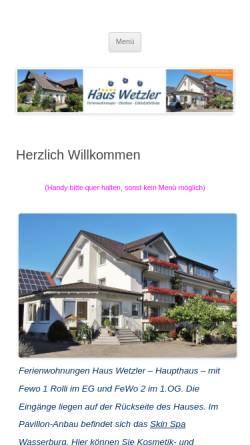 Vorschau der mobilen Webseite www.haus-wetzler.de, Ferienwohnungen Haus Wetzler