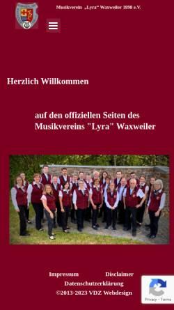 Vorschau der mobilen Webseite www.mvwaxweiler.de, Musikverein Lyra Waxweiler 1898 e.V