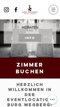 Vorschau der mobilen Webseite www.burg-wegberg.de, Hotel-Restaurant Burg Wegberg