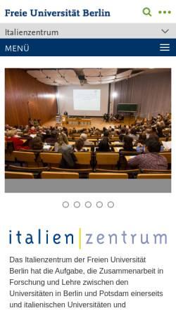 Vorschau der mobilen Webseite www.fu-berlin.de, Italien   Zentrum