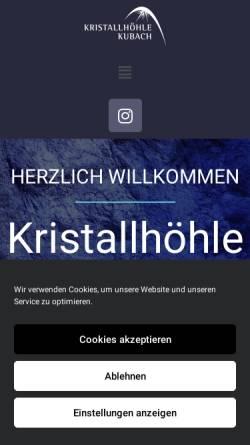 Vorschau der mobilen Webseite www.kubacherkristallhoehle.de, Kubacher Kristallhöhle