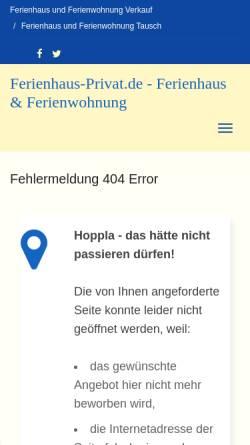 Vorschau der mobilen Webseite www.ferienhaus-privat.de, Ferienhaus Pufahl