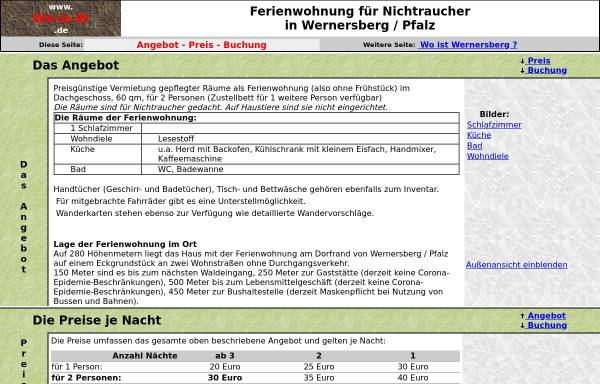 Vorschau von www.wo-in-w.de, Ferienwohnung für Nichtraucher in Wernersberg / Pfalz