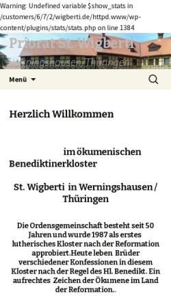 Vorschau der mobilen Webseite www.wigberti.de, Kloster Werningshausen