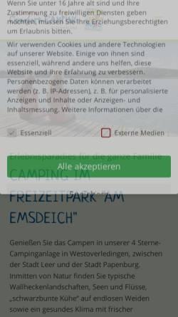 Vorschau der mobilen Webseite www.ostfriesland-camping.de, Freizeitpark am Emsdeich