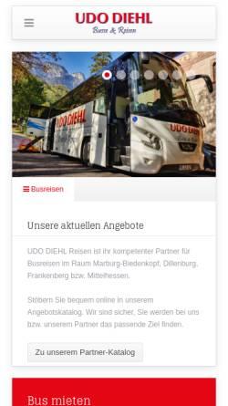 Vorschau der mobilen Webseite www.udodiehl.de, Udo Diehl Reisen GmbH & Co. KG