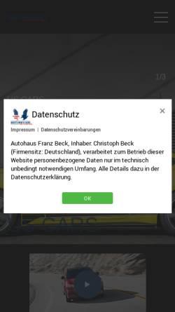 Vorschau der mobilen Webseite www.fordbeck.de, Autohaus Franz Beck KG