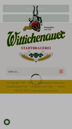 Vorschau der mobilen Webseite www.wittichenauer.de, Wittichenauer Stadtbrauerei