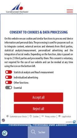 Vorschau der mobilen Webseite www.carolinensiel.de, Nordseebad Carolinensiel-Harlesiel
