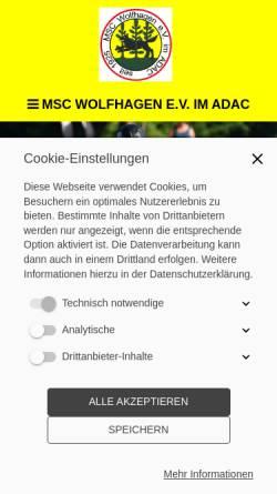 Vorschau der mobilen Webseite www.msc-wolfhagen.de, MSC Motorsportclub Wolfhagen e.V. im ADAC