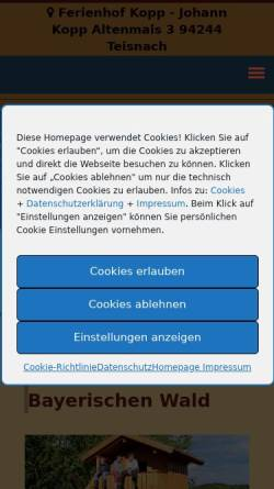 Vorschau der mobilen Webseite www.ferienhof-kopp.de, Ferienhof Kopp