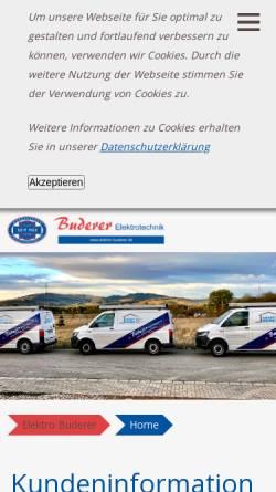 Vorschau der mobilen Webseite www.elektro-buderer.de, Buderer Elektrotechnik OHG