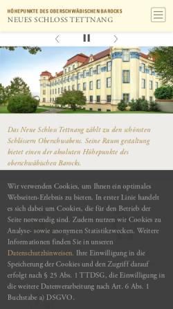 Vorschau der mobilen Webseite www.schloss-tettnang.de, Neues Schloß Tettnang