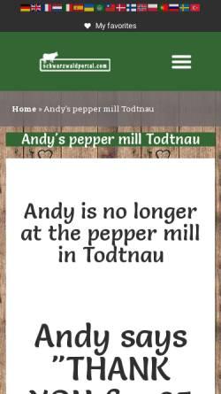 Vorschau der mobilen Webseite www.motorraderlebnis-schwarzwald.de, Andys Pfeffermühle
