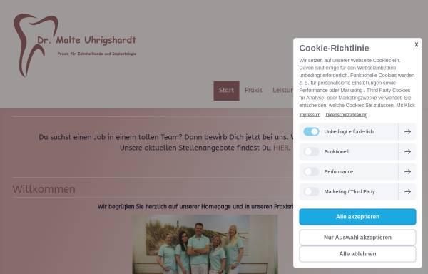 Vorschau von www.zahnarzt-uhrigshardt-tornesch.de, Praxis für Zahnheilkunde & Implantologie Dr. med. dent. Malte Uhrigshardt