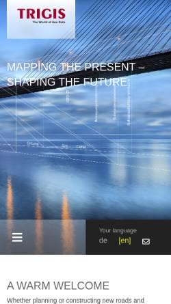 Vorschau der mobilen Webseite www.trigis.de, Trigis Vermessung & Geoinformatik GmbH