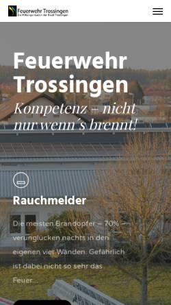 Vorschau der mobilen Webseite www.feuerwehr-trossingen.de, Freiwillige Feuerwehr Trossingen