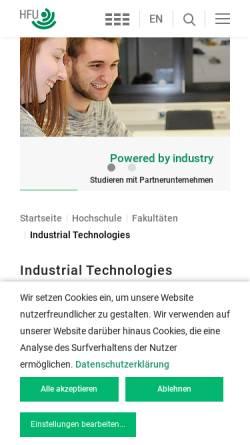 Vorschau der mobilen Webseite www.hfu-campus-tuttlingen.de, International Business School Tuttlingen